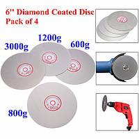 4шт 6 дюймов 600/800/1200/3000 грит плоский круг колесо притирки шлифовальный диск