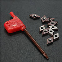 Твердосплавные пластины для sdjcr1010h07 поворачивая держатель инструмента DCMT0702 EM YBC205 10шт