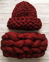 Комплект шапка и снуд гигантской вязки 100% шерсть мериноса (Бордо-Марсала)
