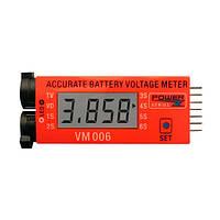 VM006 1-6S липо батареи точным напряжение батареи метр LCD жидкокристаллический дисплей