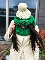 Комплект шапка с помпоном и снуд гигантской вязки 100% шерсть мериноса., фото 1