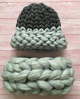 Комплект шапка и снуд Maxi из 100% шерсти мериноса. Цвет - Серебро+Графит.
