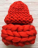 Комплект шапка+снуд гигантской вязки 100% шерсть мериноса (Красный)