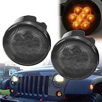 Пара 2000k LED somke Len янтарного передних сигнала поворота света для Jeep Wrangler 07-15