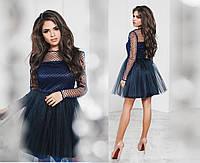 Платье сетка флок, королевский атлас, фатин,  размер 42-46 44, темно-синий