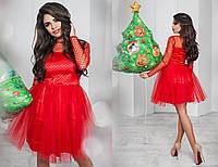 Платье сетка флок, королевский атлас, фатин,  размер 42-46 42, красный