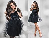 Платье сетка флок, королевский атлас, фатин,  размер 42-46 42, черный