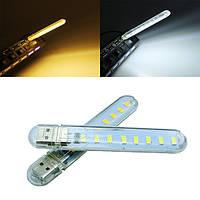 Мини-USB 3w smd5730 белый / теплый белый мобильный мощность лампы кемпинг 8 LED свет ночи DC5V