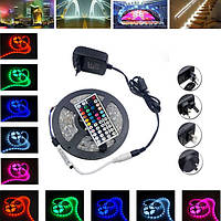 5M SMD5050 не водонепроницаемый 150 RGB LED полоса гибкий свет комплект+IR контроллер+адаптер питания DC12V