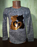 Туника для девочки Кошечки ,пайетки перевертыш. размер 116, , фото 1