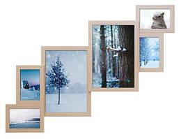 Деревянная мультирамка на 6 фотографий ФР0002