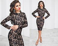 Шикарное вечернее платье, вышивка на сетке, микромасло кристалл,  размер 42-46 46, черный