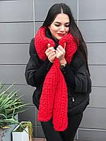 Стильный шарф крупной вязки 100% шерсть мериноса, фото 1