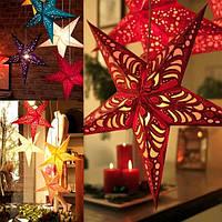 45см Рождественская звезда лазера бумага висит украшения ручной работы складной 3d пентаграмму рождественские декорации