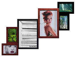 Деревянная мультирамка на 6 фотографий ФР0002 Коричнево-чёрный