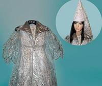 Детский маскарадный новогодний костюм Снежная Королева M серебристый