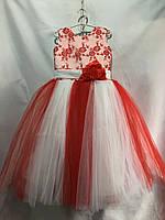 Детское нарядное платье для девочки 6-7 лет,красное