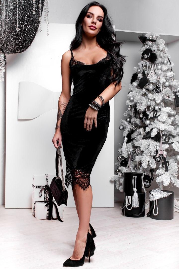 Платье из бархата облегающее с кружевом на тонких бретелях миди 4 цвета  SMdi1089 6ce67c470b1