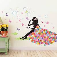 Девушка дуть пузырь детская комната декор поделок стены стикеры цветы фея серии искусства деколи настенной росписи