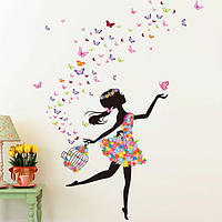 Детская комната украшения поделок стены стикеры бабочка цветы фея танец девушки искусства деколи личная настенная