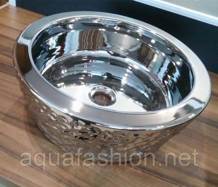Круглый умывальник на столешницу 42 см серебро Newarc 6065CR