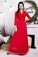 Длинное платье на запах с кружевом / 4 цвета арт 3257-8