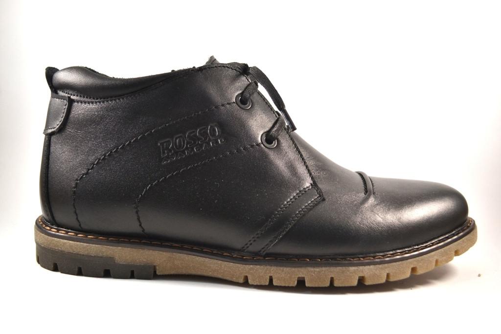 Большие размеры кожаные зимние мужские ботинки BS WinterkingZ Black MED Rosso Avangard черные
