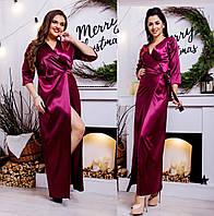 Длинное платье на запах из плотного атласа р-ры от 42 до 50  / 4 цвета арт 3258-8