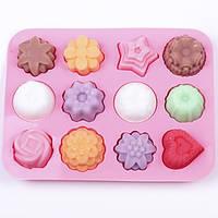 Многоцелевой 12 отверстий цветы силиконовые формы торт мороженое плесени желе пудинг прессформы шоколада прессформы