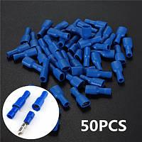 Синий разъем электрический провод лопата неизолированных беспаечных выводов Nylon 50pcs 6.3mm