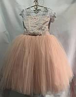 """Детское нарядное платье для девочки 6-7 лет,""""Евросетка"""",пудра"""