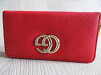 Модный кошелёк Gucci экокожа красный большой значок
