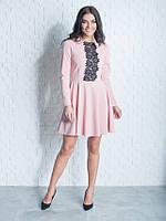 Женское молодежное платье с кружевом Мия пудрового цвета