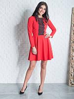 Модное женское красное платье с кружевом Мия