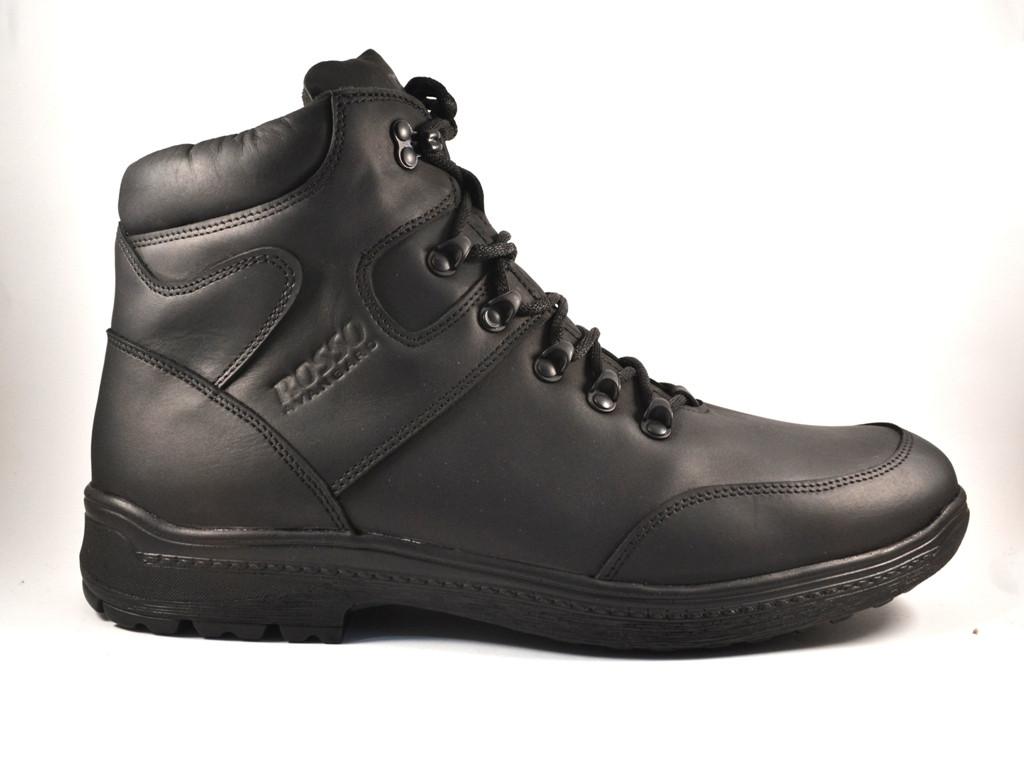 Большие размеры кожаные зимние мужские черные ботинки Rosso Avangard BS Lomerback Black черные