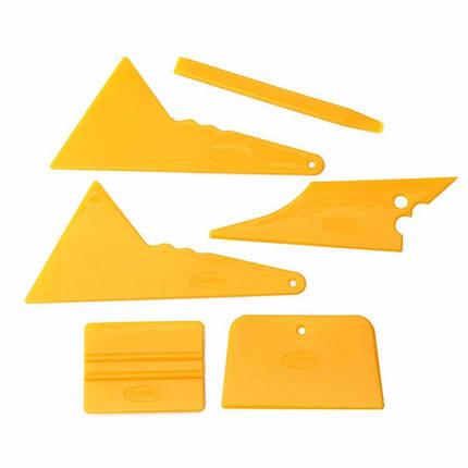 6шт окна автомобиля тонировка набор инструментов из стекла винил наклейка установка Оттенок скребок установлен желтый, фото 2