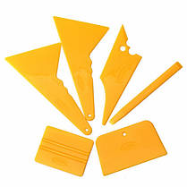 6шт окна автомобиля тонировка набор инструментов из стекла винил наклейка установка Оттенок скребок установлен желтый, фото 3