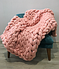 Плед КРУПНОЙ ВЯЗКИ 100% шерсть мериноса. Размер 100X160. Цвет - Розовый.