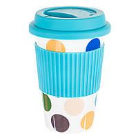 Керамический стакан с крышкой, 400 мл, цвет голубой