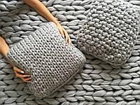 В'язана декоративна подушка 100% вовна мериносів, фото 1