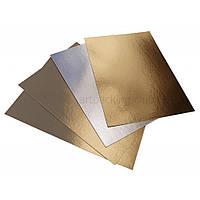 Подложка ламинированная золото/серебро прямоугольная, размер 400*300