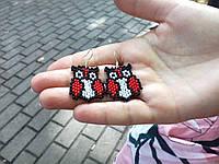 Серьги Совы Красные из бисера ручной работы
