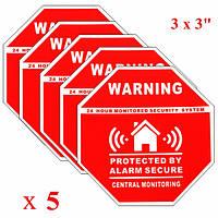 5pcs наклейки домашней безопасности сигнализации отличительные знаки знаки для оконных дверей