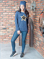 Стильная женская кофточка Звезда из ангоры синего цвета