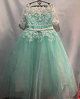 Детское нарядное платье для девочки 10-12 лет,бирюзовое