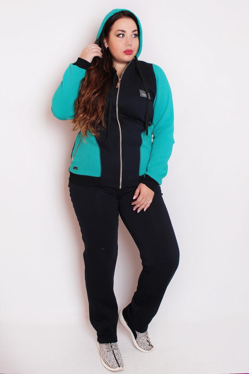 aba3c4b43531 Спортивный костюм с капюшоном женский 235 54–60р. в расцветках бирюза -  Интернет–