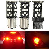 T20 1156 1157 15w красный LED дополнительный стоп-сигнал 48SMD CANbus фонарь заднего хода автомобиля стоп шарик