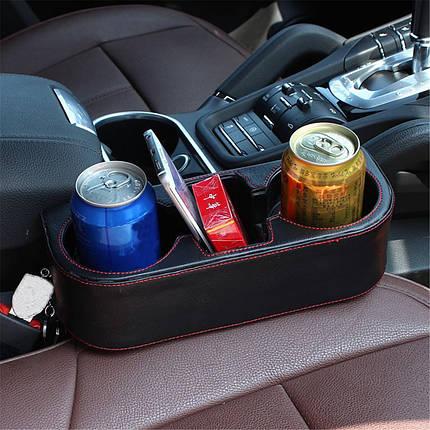 Многофункциональная кожа PU Авто Крепление для хранения сидений Коробка Seat Gap Органайзер Держатель для напитков , фото 2