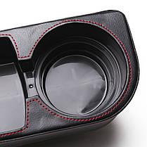 Черный пу кожаный держатель для напитков автокресло чашка клина камердинер бутылка напитка стенд, фото 3