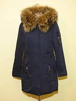 Зимняя женская куртка с натуральным мехом парка